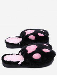Color Block Faux Fur Slippers -