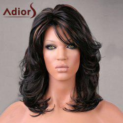 Adiors Medium Inclined Bang Highlight Shaggy Slightly Curled Synthetic Wig -