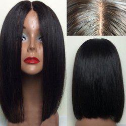 Short Center Parting Straight Bob Human Hair Lace Front Wig - NATURAL BLACK