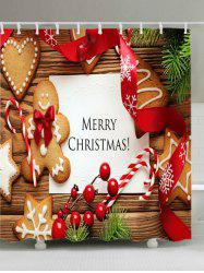 Christmas Cookies Print Fabric Waterproof Bathroom Shower Curtain - COLORMIX W59 INCH * L71 INCH