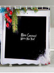 Christmas Tablet Computer Print Fabric Waterproof Bathroom Shower Curtain -