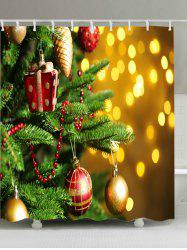 Christmas Tree Baubles Print Fabric Waterproof Bathroom Shower Curtain - COLORMIX W59 INCH * L71 INCH