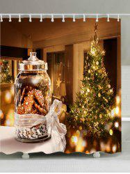 Christmas Tree Biscuits Print Fabric Waterproof Bathroom Shower Curtain - COLORMIX W71 INCH * L71 INCH
