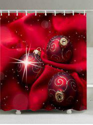 Christmas Cloth Baubles Print Fabric Waterproof Bathroom Shower Curtain - RED W59 INCH * L71 INCH