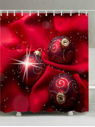 Christmas Cloth Baubles Print Fabric Waterproof Bathroom Shower Curtain -
