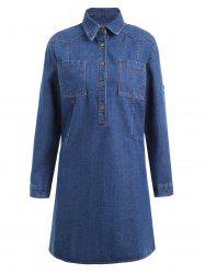 Plus Size Pocket Half Button Denim Coat - BLUE 4XL