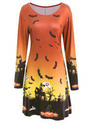 Long Sleeve Bat Print Swing Halloween Skater Dress -