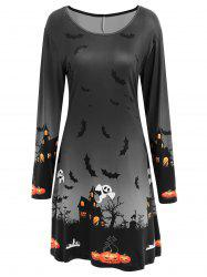 Long Sleeve Bat Print Swing Halloween Dress - DARK GREY XL