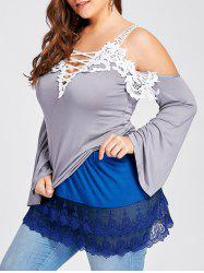 Plus Size Layered Sheer Lace Extender Skirt - BLUE 5XL