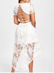 Back Tie Up High Low Lace Dress - WHITE S