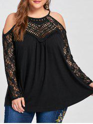 Plus Size Lace Panel Cold Shoulder Top - BLACK 5XL