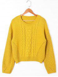 Cable Knit Drop Shoulder Sweater -