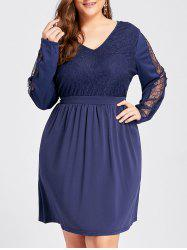 Lace Insert High Waist Plus Size Long Sleeve Dress -