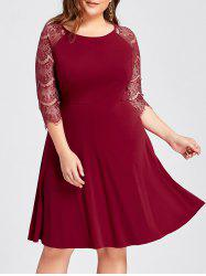 Plus Size Lace Openwork Cocktail Party Dress -