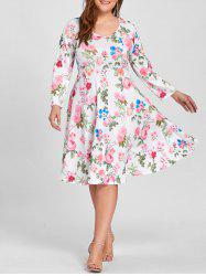 Plus Size Empire Waist Floral Print Dress -