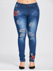 Plus Size Floral Patched Destroyed Jeans -