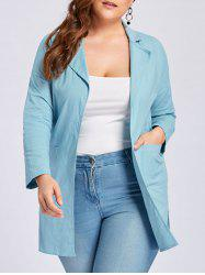 Plus Size Slit Lapel Drop Shoulder Coat -