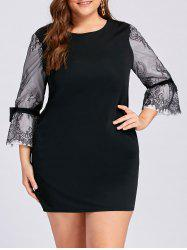 Plus Size Lace Insert Bell Sleeve Mini Dress -
