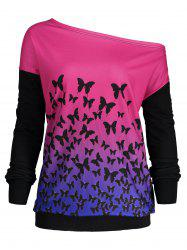 Butterfly Ombre Print One Shoulder Sweatshirt -