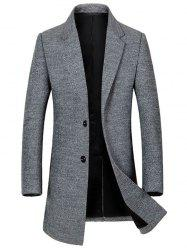 Single Breasted Lapel Wool Blend Coat -