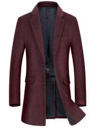 Flap Pocket Single Breasted Wool Blend Coat -