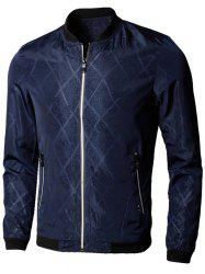 Casual Zip Up Diamond Bomber Jacket -