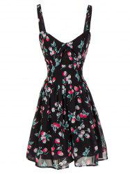 Backless Cherry Print Cami Swing Dress -