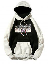 3D Figure Print Applique Zipper Pullover Hoodie -