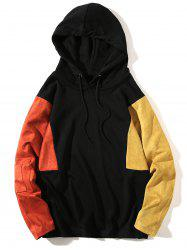 Color Block Drop Shoulder Pullover Hoodie -