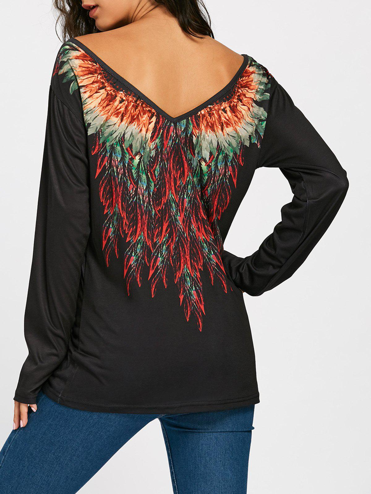 Tribal Feathers Print Long Sleeve T-shirtWOMEN<br><br>Size: XL; Color: BLACK; Material: Polyester,Spandex; Shirt Length: Regular; Sleeve Length: Full; Collar: Round Neck; Style: Fashion; Pattern Type: Feather,Print; Season: Fall,Spring; Elasticity: Micro-elastic; Weight: 0.2700kg; Package Contents: 1 x T-shirt;