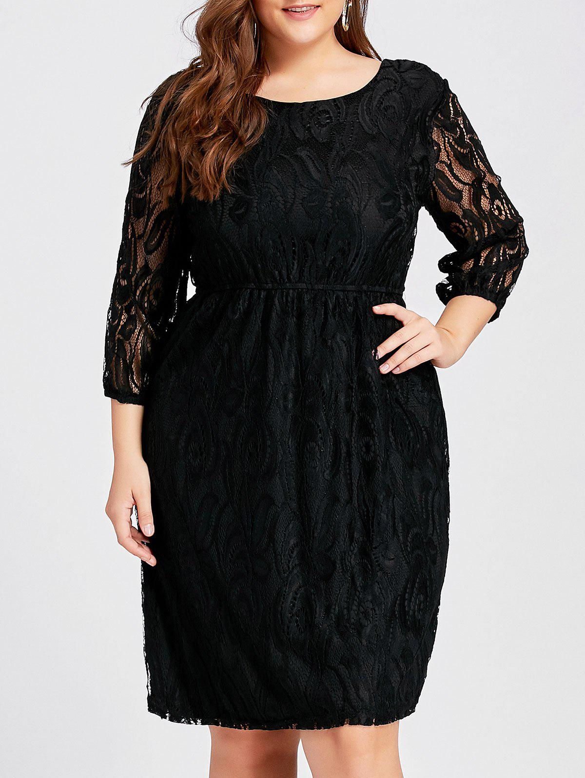 Cutout  Empire Waist Plus Size Lace DressWOMEN<br><br>Size: 4XL; Color: BLACK; Style: Casual; Material: Lace; Silhouette: A-Line; Dresses Length: Knee-Length; Neckline: Round Collar; Sleeve Type: Lantern Sleeve; Sleeve Length: 3/4 Length Sleeves; Embellishment: Hollow Out; Pattern Type: Solid Color; With Belt: No; Season: Fall,Winter; Weight: 0.4200kg; Package Contents: 1 x Dress;