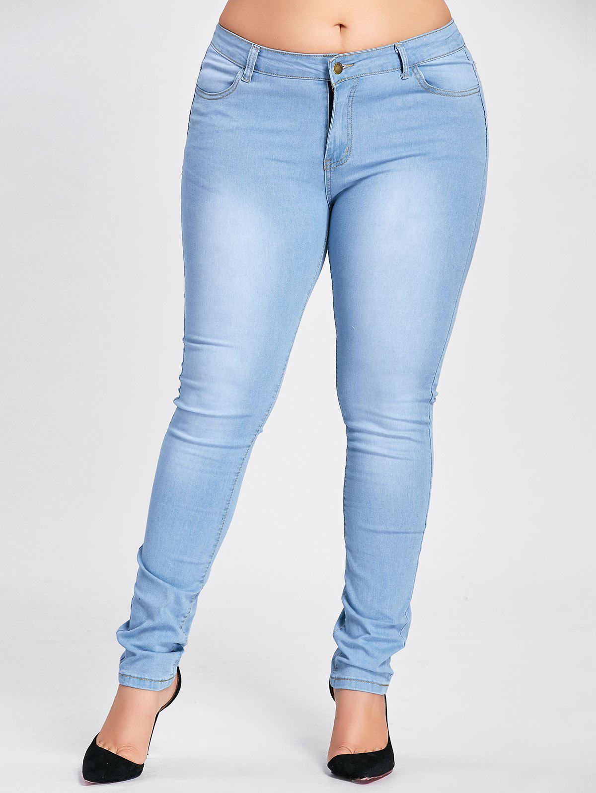 Plus Size Stretch Light Wash JeansWOMEN<br><br>Size: 3XL; Color: WINDSOR BLUE; Style: Fashion; Length: Normal; Material: Jeans; Fabric Type: Denim; Fit Type: Skinny; Waist Type: High; Closure Type: Zipper Fly; Pattern Type: Solid; Embellishment: Pockets; Pant Style: Pencil Pants; Weight: 0.4100kg; Package Contents: 1 x Jeans;