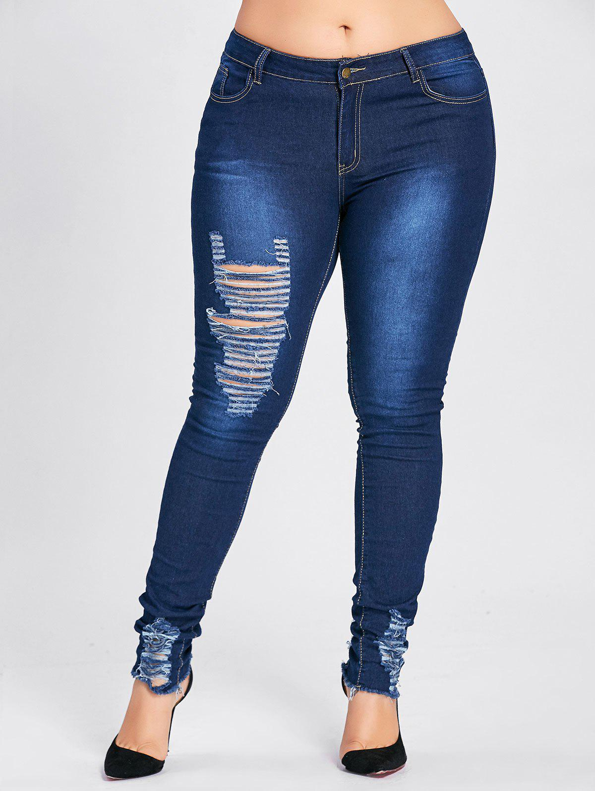 Plus Size Hole Destroyed High Waist JeansWOMEN<br><br>Size: 3XL; Color: CERULEAN; Style: Fashion; Length: Ninth; Material: Jeans; Fabric Type: Denim; Fit Type: Skinny; Waist Type: High; Closure Type: Zipper Fly; Pattern Type: Solid; Embellishment: Hole,Hollow Out; Pant Style: Pencil Pants; Weight: 0.4500kg; Package Contents: 1 x Jeans;