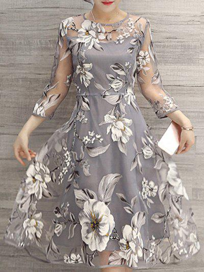 Flower Print Midi Organza DressWOMEN<br><br>Size: L; Color: LIGHT GRAY; Style: Cute; Material: Polyester; Silhouette: A-Line; Dresses Length: Mid-Calf; Neckline: Round Collar; Sleeve Length: 3/4 Length Sleeves; Pattern Type: Floral; With Belt: No; Season: Spring,Summer; Weight: 0.2000kg; Package Contents: 1 x Dress;