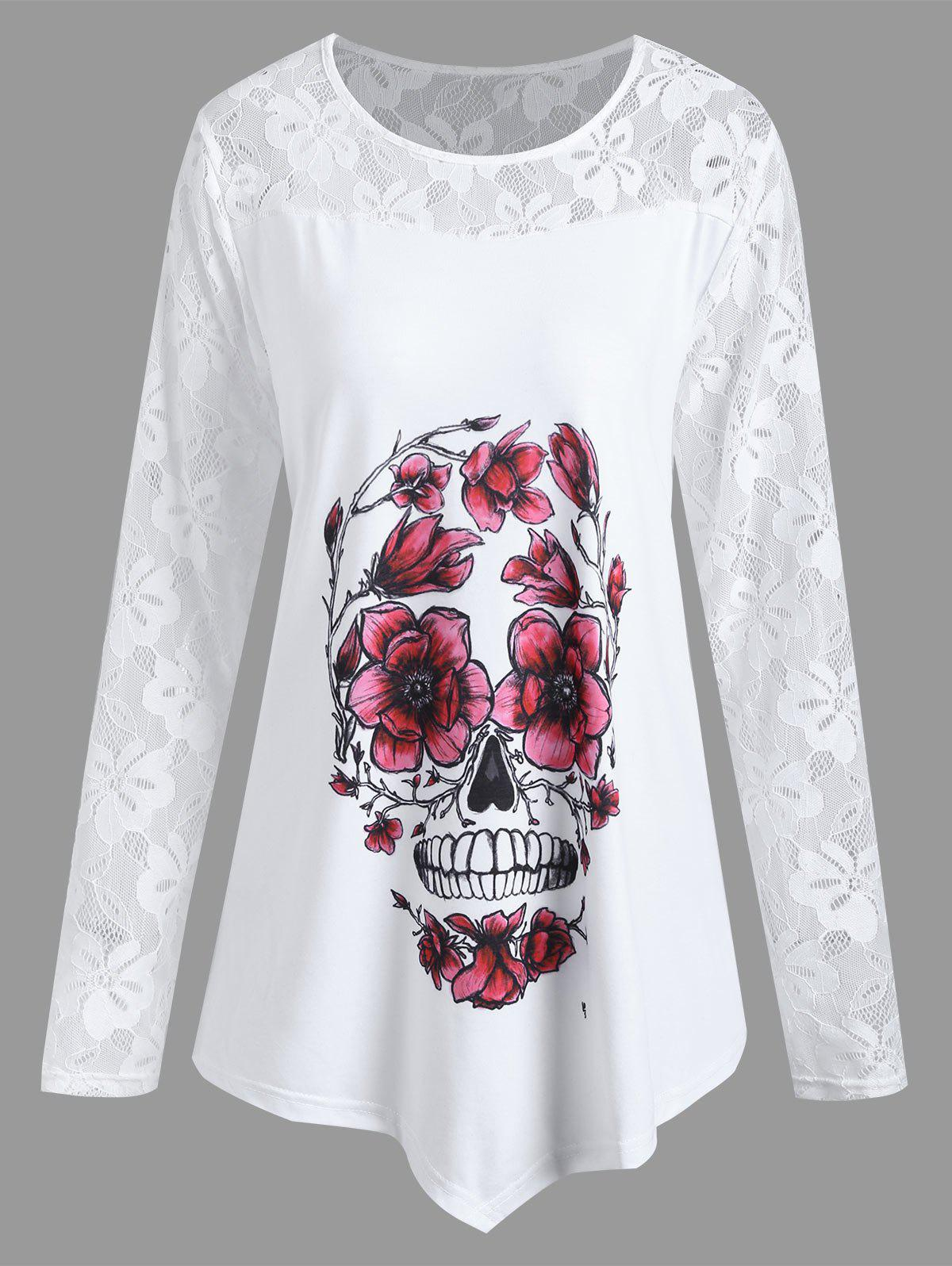 Plus Size Asymmetrical Halloween Floral Skull TeeWOMEN<br><br>Size: XL; Color: WHITE; Material: Cotton,Polyester; Shirt Length: Regular; Sleeve Length: Full; Collar: Round Neck; Style: Casual; Season: Fall; Embellishment: Lace; Pattern Type: Floral,Skulls; Weight: 0.2400kg; Package Contents: 1 x T-shirt;