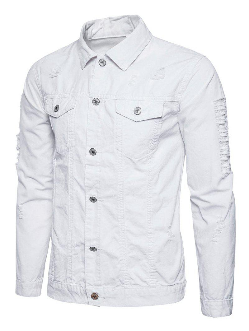 Button Up Veste Cargo En Détresse Blanc 2XL