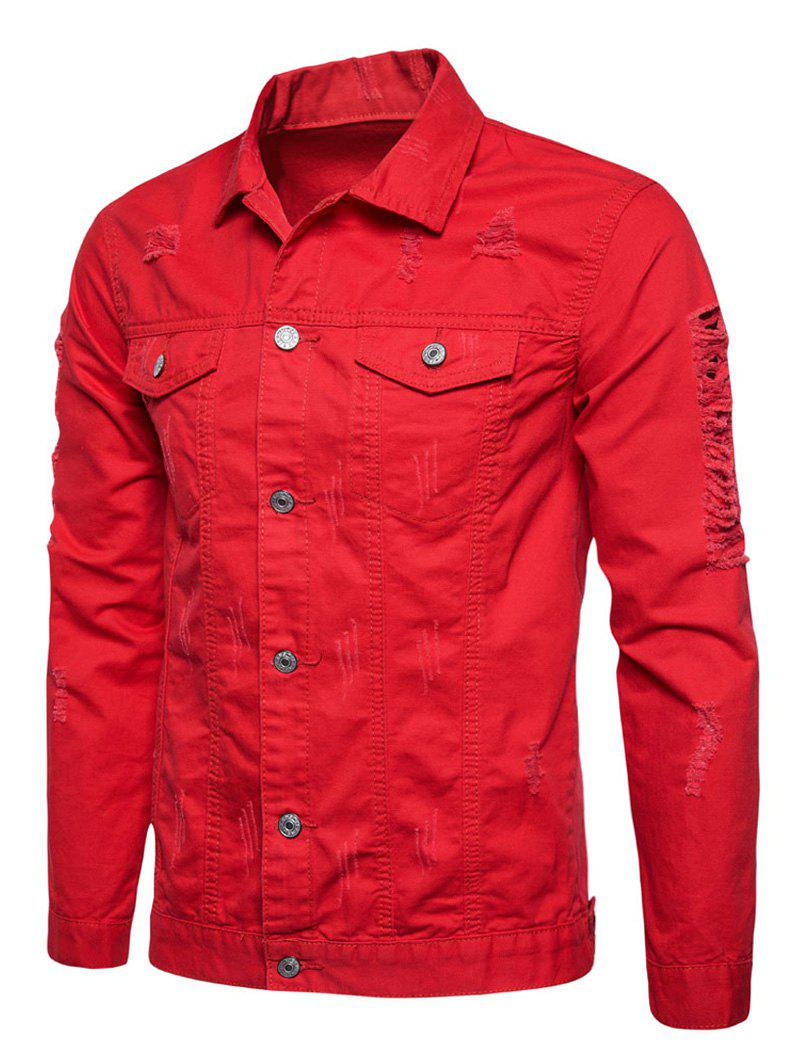 Button Up Veste Cargo En Détresse Rouge 2XL