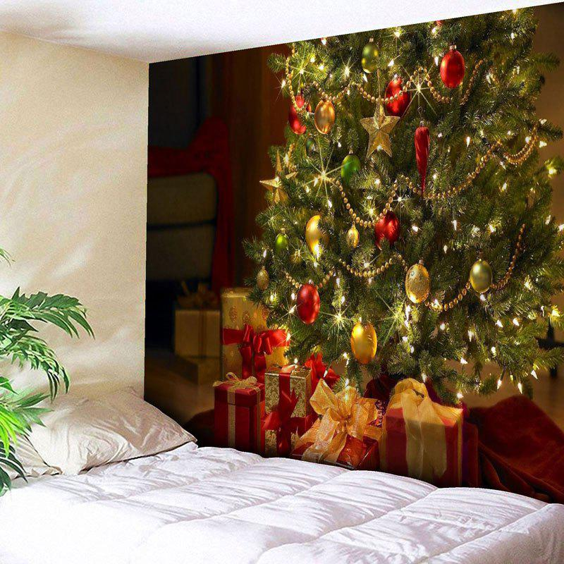 Wall Decor Christmas Gift Tree TapestryHOME<br><br>Size: W91 INCH * L71 INCH; Color: GREEN; Style: Festival; Theme: Christmas; Material: Cotton,Polyester; Feature: Removable,Washable; Shape/Pattern: Gift,Tree; Weight: 0.3950kg; Package Contents: 1 x Tapestry;
