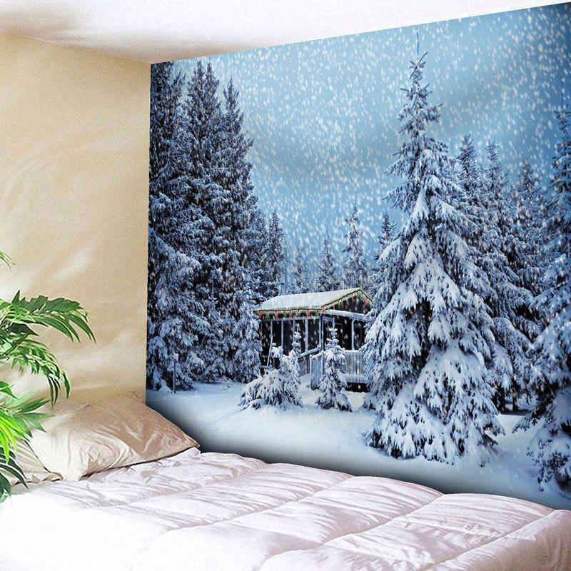 Christmas Snowscape Pattern Wall TapestryHOME<br><br>Size: W91 INCH * L71 INCH; Color: CLOUDY; Style: Festival; Theme: Christmas; Material: Cotton,Polyester; Feature: Removable,Washable; Shape/Pattern: Snow,Tree; Weight: 0.3950kg; Package Contents: 1 x Tapestry;