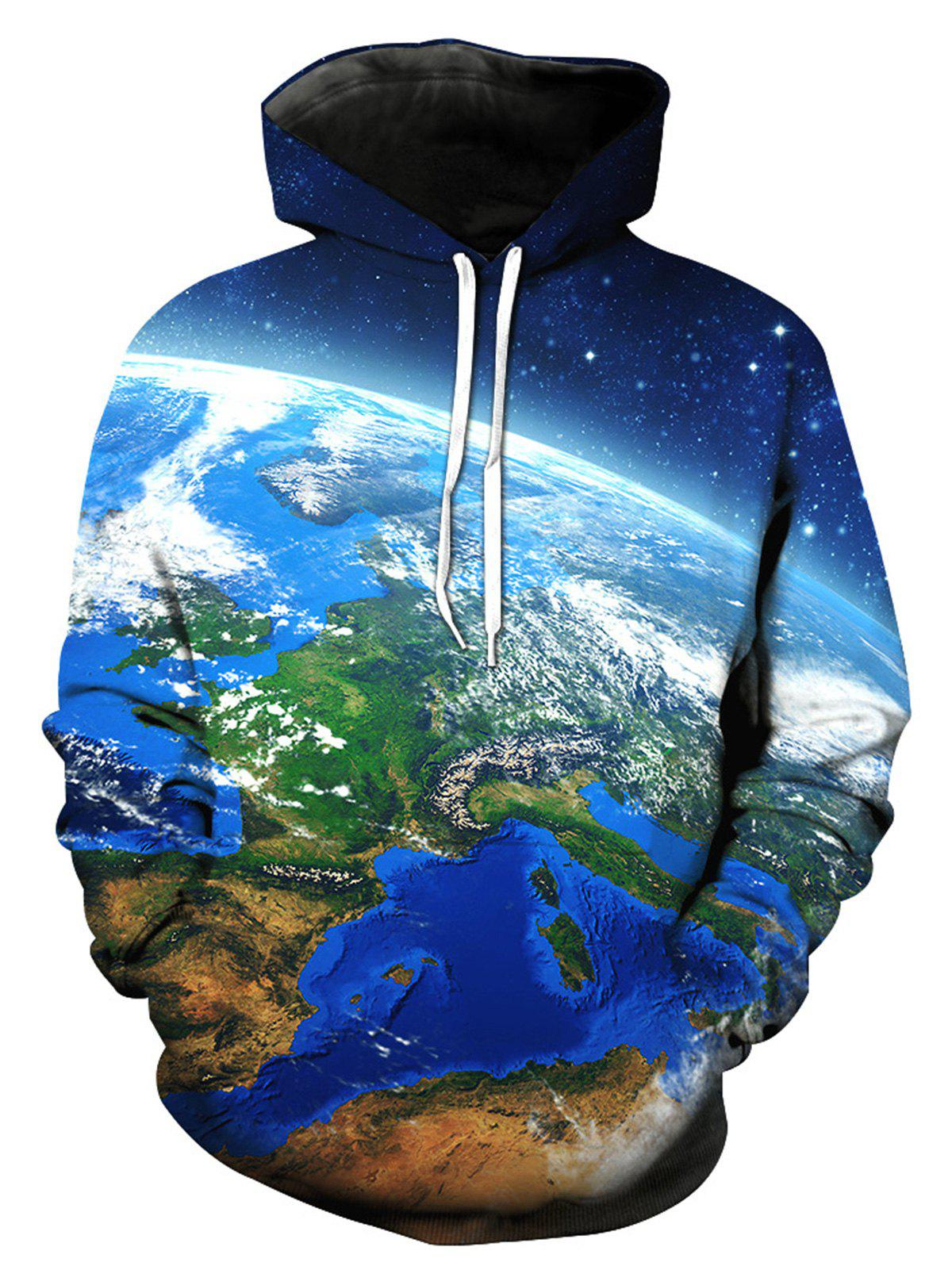 Earth Galaxy 3D Print Pullover HoodieMEN<br><br>Size: M; Color: COLORMIX; Material: Cotton,Polyester; Shirt Length: Regular; Sleeve Length: Full; Style: Fashion; Patterns: 3D,Print,Stars; Weight: 0.5000kg; Package Contents: 1 x Hoodie;