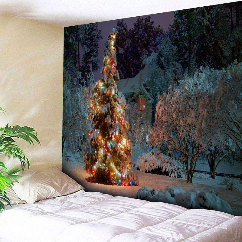 Snowscape Christmas Tree Wall TapestryHOME<br><br>Size: W91 INCH * L71 INCH; Color: COLORMIX; Style: Festival; Theme: Christmas; Material: Cotton,Polyester; Feature: Removable,Washable; Shape/Pattern: Snow,Tree; Weight: 0.3950kg; Package Contents: 1 x Tapestry;