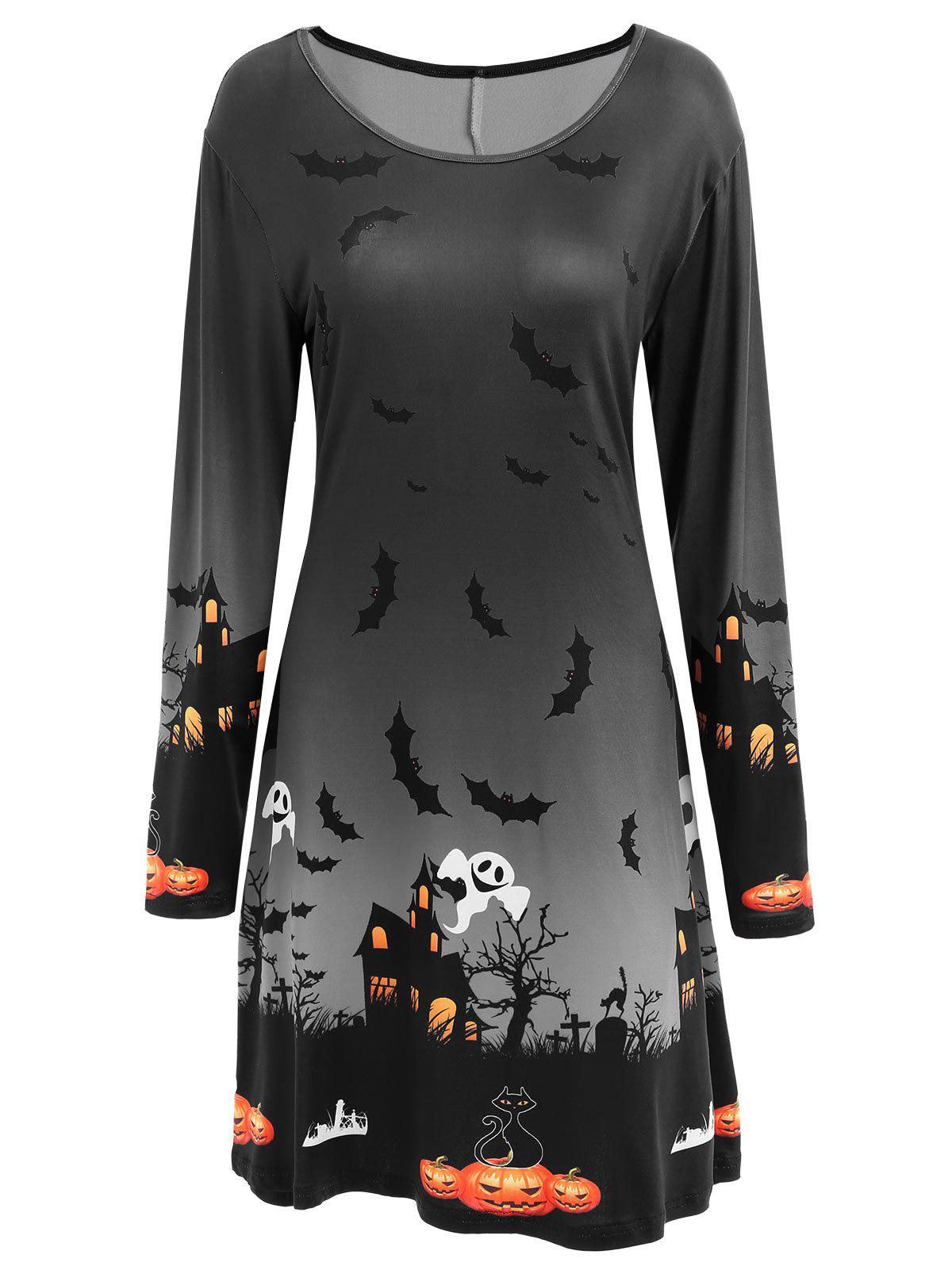Fashion Long Sleeve Bat Print Swing Halloween Skater Dress
