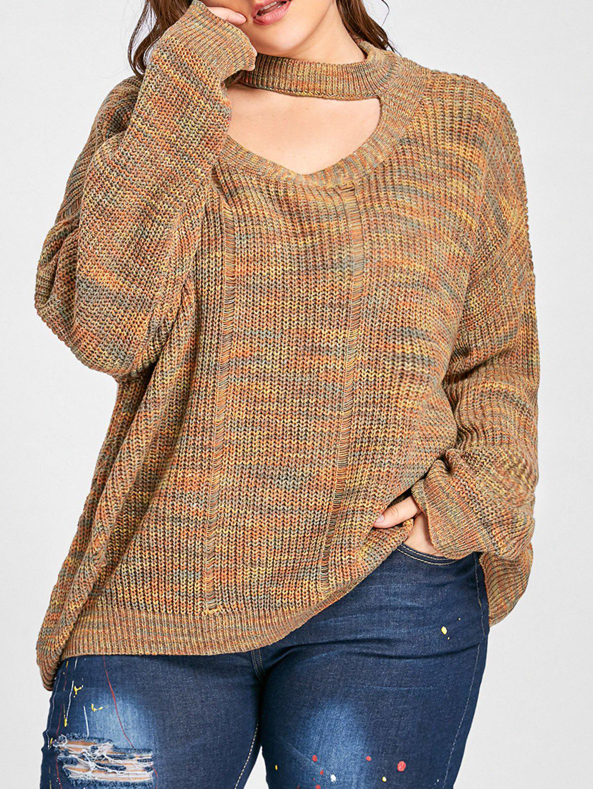 Plus Size Drop Shoulder Ripped Cut Out Neck SweaterWOMEN<br><br>Size: 2XL; Color: LIGHT COFFEE; Type: Pullovers; Material: Acrylic,Polyester; Sleeve Length: Full; Collar: High Collar; Style: Fashion; Season: Fall; Pattern Type: Others; Weight: 0.5200kg; Package Contents: 1 x Sweater;