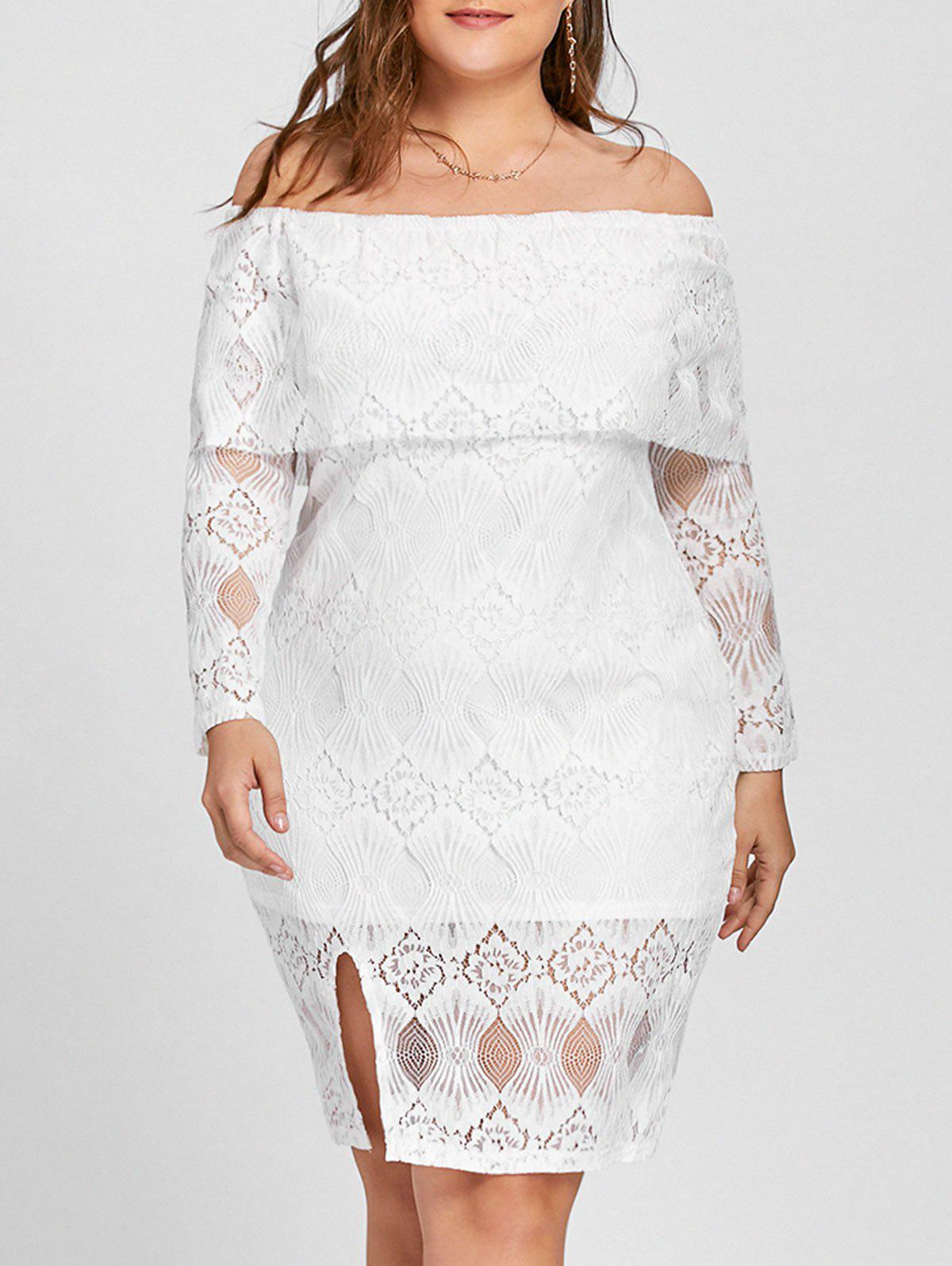 Plus Size Lace Off The Shoulder Flounce DressWOMEN<br><br>Size: 3XL; Color: WHITE; Style: Casual; Material: Cotton,Polyester; Silhouette: Sheath; Dresses Length: Knee-Length; Neckline: Off The Shoulder; Sleeve Length: Long Sleeves; Embellishment: Lace; Pattern Type: Solid; With Belt: No; Season: Fall; Weight: 0.4350kg; Package Contents: 1 x Dress;