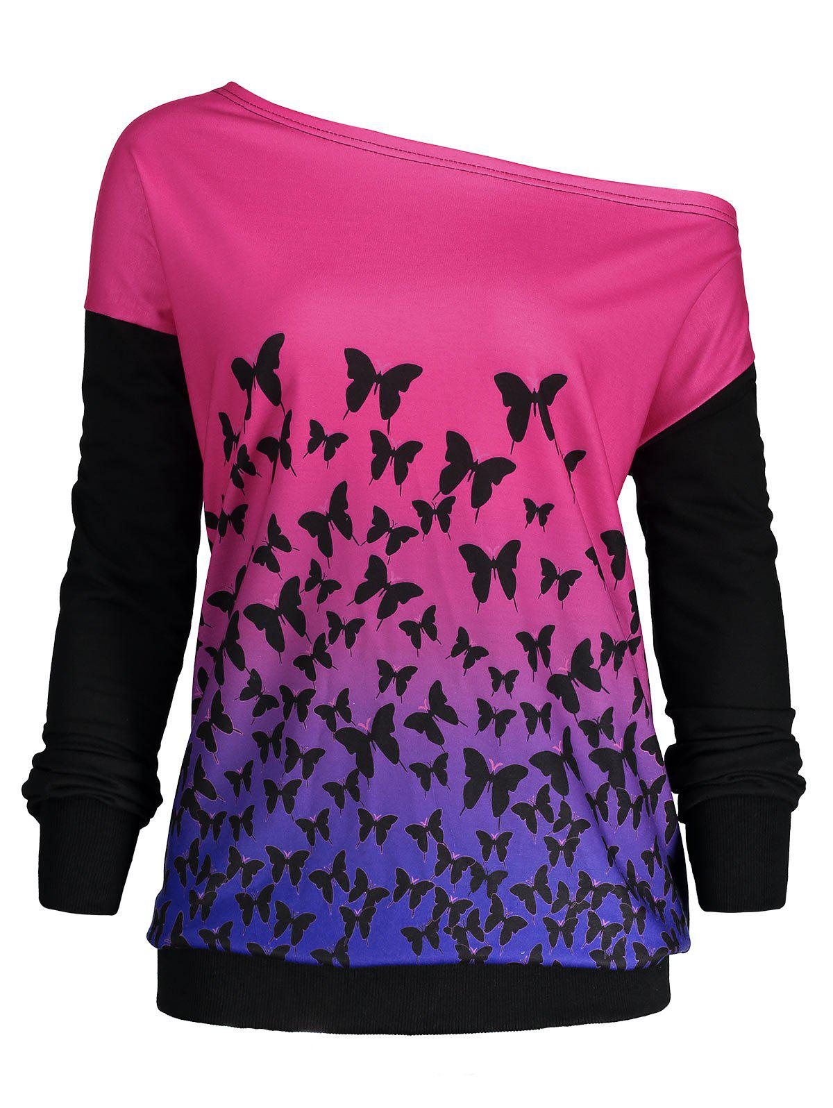 Butterfly Ombre Print One Shoulder SweatshirtWOMEN<br><br>Size: 5XL; Color: GRENADINE; Material: Polyester,Spandex; Shirt Length: Regular; Sleeve Length: Full; Style: Fashion; Pattern Style: Ombre; Season: Fall,Spring; Weight: 0.3000kg; Package Contents: 1 x Sweatshirt;