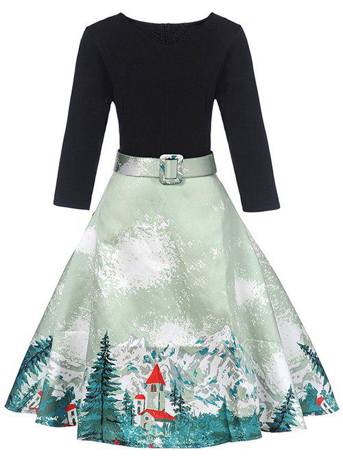 Landscape Print Retro DressWOMEN<br><br>Size: L; Color: LIGHT GREEN; Style: Vintage; Material: Polyester; Silhouette: A-Line; Dress Type: Fit and Flare Dress; Dresses Length: Mid-Calf; Neckline: V-Neck; Sleeve Length: 3/4 Length Sleeves; Embellishment: Pattern,Sashes; Pattern Type: Landscape; With Belt: Yes; Season: Fall,Spring; Weight: 0.3700kg; Package Contents: 1 x Dress  1 x Belt;