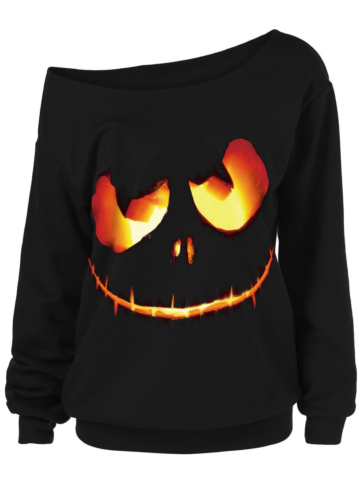 Unique Halloween Ghost Face Plus Size Skew Neck Sweatshirt