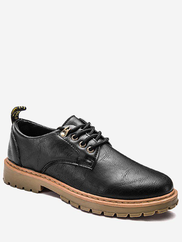 Fancy Lace Up Faux Leather Low Top Casual Shoes