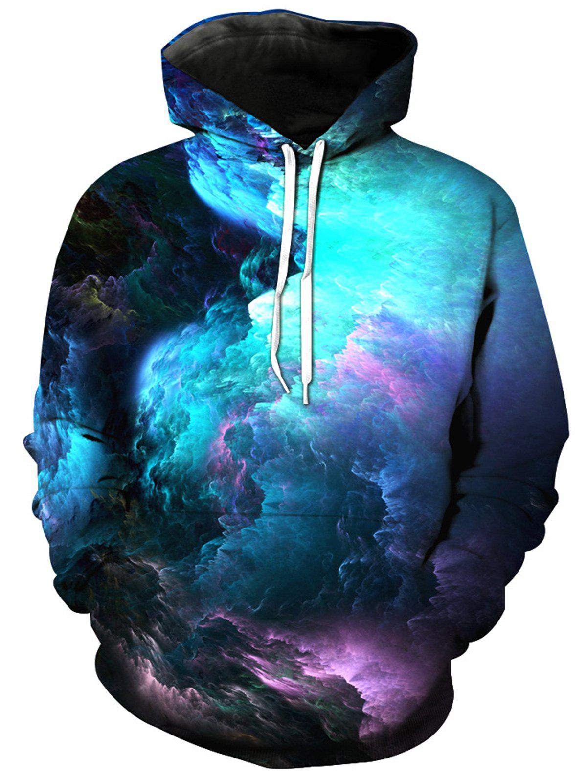 Colorful Clouds 3D Print Pullover HoodieMEN<br><br>Size: 2XL; Color: COLORMIX; Material: Cotton,Polyester; Shirt Length: Regular; Sleeve Length: Full; Style: Fashion; Patterns: 3D,Print; Weight: 0.5000kg; Package Contents: 1 x Hoodie;