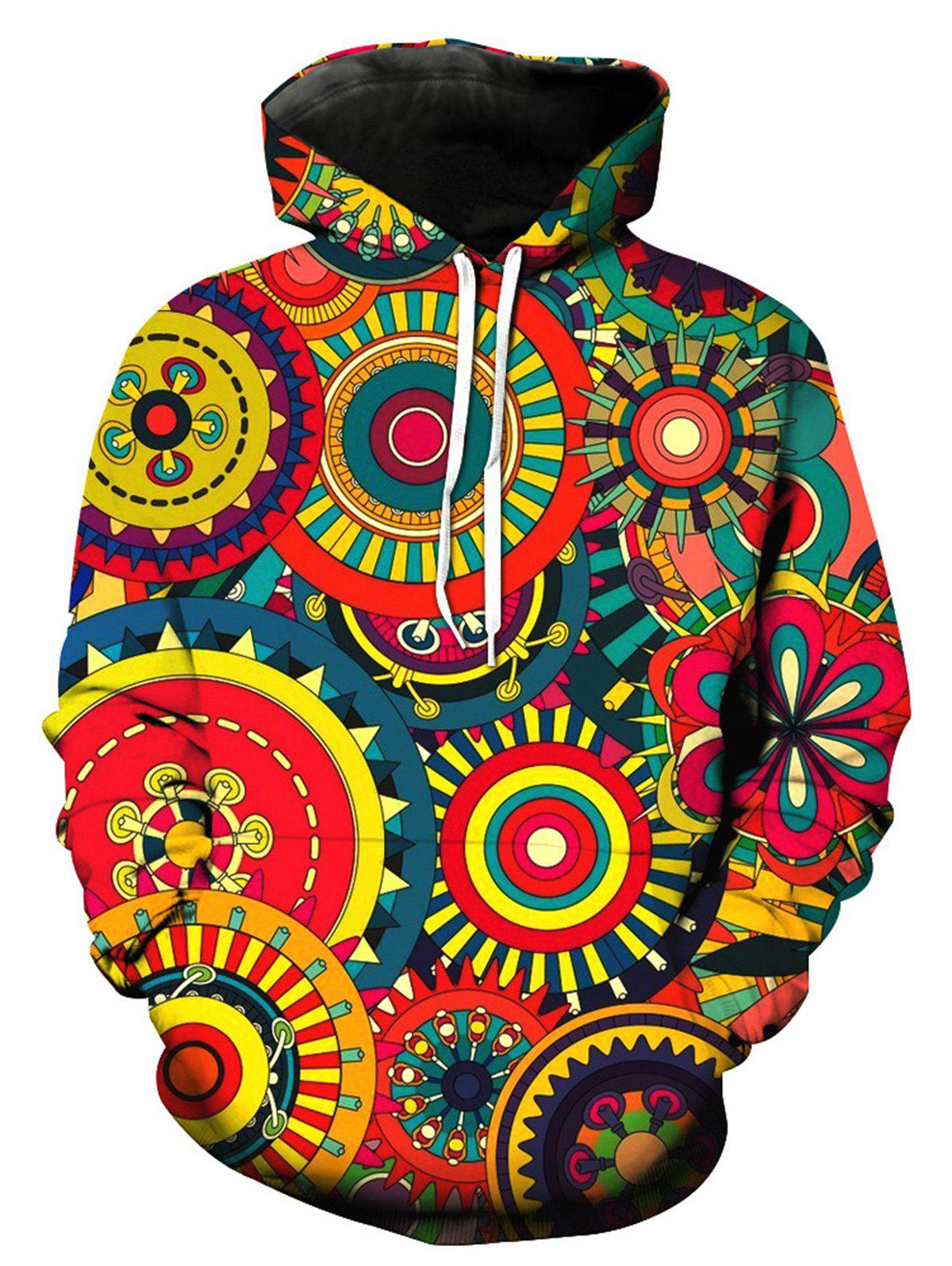 Colorful 3D Wheel Gear Pullover HoodieMEN<br><br>Size: 3XL; Color: COLORMIX; Material: Cotton,Polyester; Shirt Length: Regular; Sleeve Length: Full; Style: Fashion; Patterns: 3D,Print; Weight: 0.5100kg; Package Contents: 1 x Hoodie;